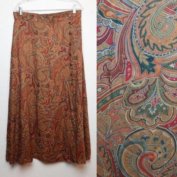 Vintage Liz Claiborne Rust Orange Printed Midi Skirt